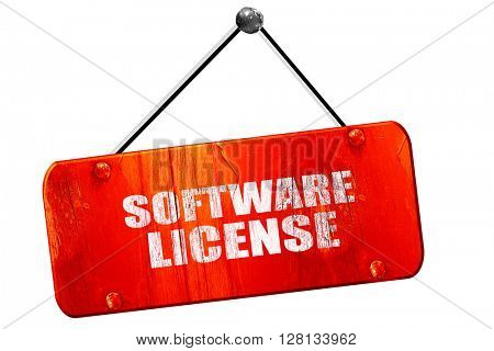 software license, 3D rendering, vintage old red sign