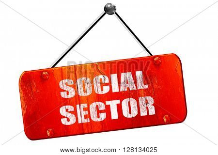 social sector, 3D rendering, vintage old red sign