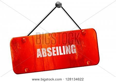 abseiling sign , 3D rendering, vintage old red sign