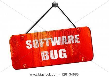 Software bug , 3D rendering, vintage old red sign