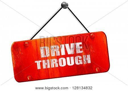 Drive through food, 3D rendering, vintage old red sign