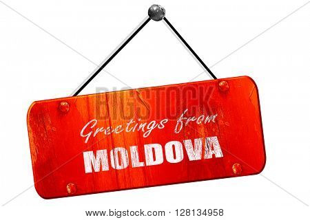 Greetings from moldova, 3D rendering, vintage old red sign