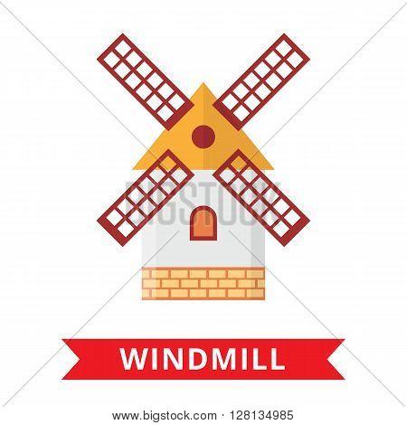 Windmill farm holland on white background. Netherlands symbol. Wind turbine icon