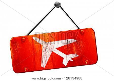 Low flying planes sign, 3D rendering, vintage old red sign
