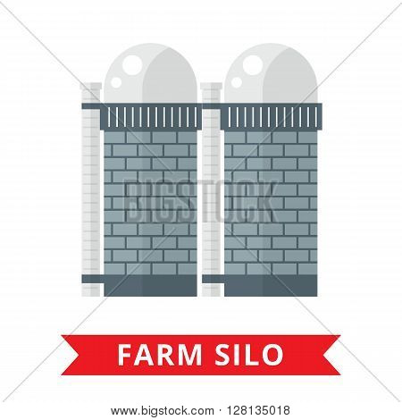 Farm grain silo. Silo vector icon. Flat agriculture sign