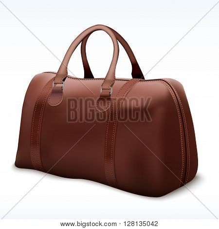 Classic Stylish Leather Brown Handle Bag. Perspective view of Fashion accessory.  illustration Isolated on white background.