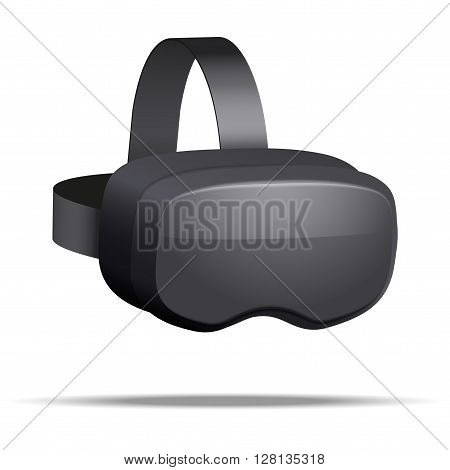 Original stereoscopic 3d vr mask with headphones. Perspective view.  illustration Isolated on white background.