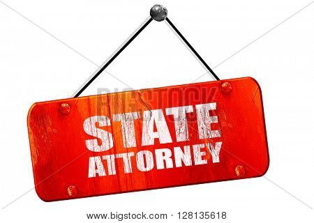 state attorney, 3D rendering, vintage old red sign