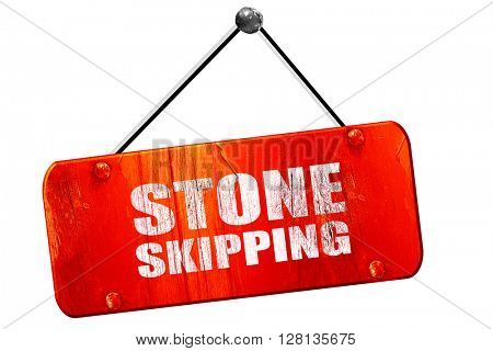 stone skipping, 3D rendering, vintage old red sign