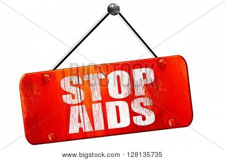 stop aids, 3D rendering, vintage old red sign
