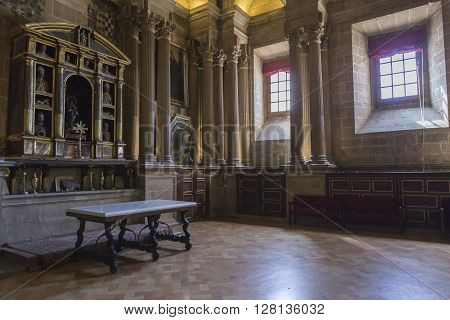 JAEN SPAIN - may 2016 2: The sacristy is a rectangular space of 12 by 22 meters, Raised on sixteen columns, is one of the most important works of the Andalusian Renaissance, Jaen, Spain