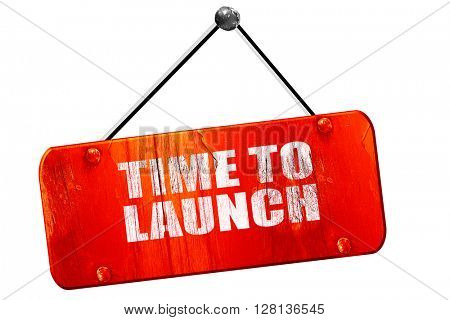 time to launch, 3D rendering, vintage old red sign