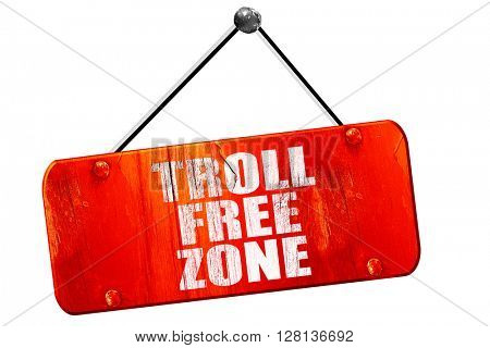 troll free zone, 3D rendering, vintage old red sign
