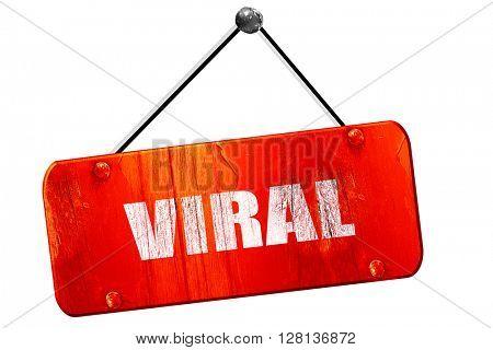 viral, 3D rendering, vintage old red sign