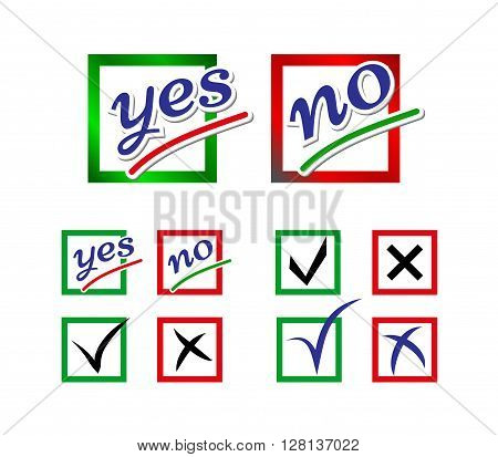 Icons for survey template. Elections icons. Choice Yes and No check marks. Vector.