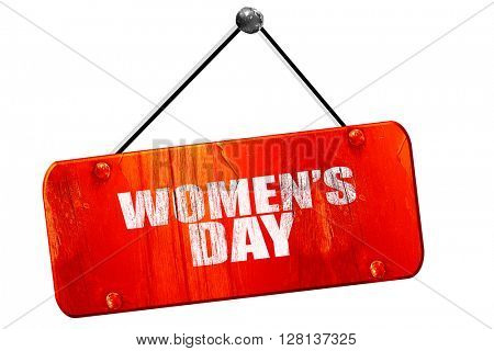 women's day, 3D rendering, vintage old red sign