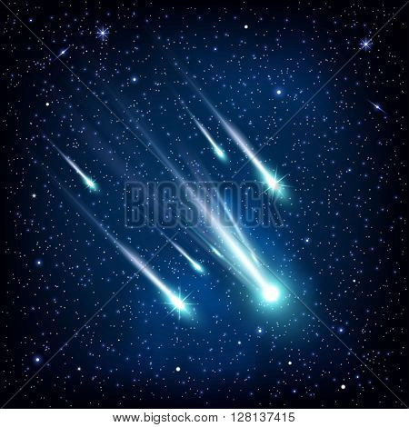 falling comet against the background of the sky, vector illustration.