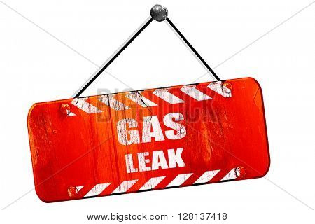 Gas leak , 3D rendering, vintage old red sign