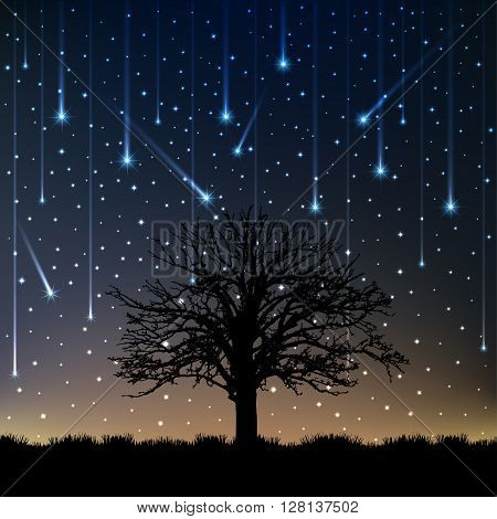 Night lonely tree falling stars, vector illustration.