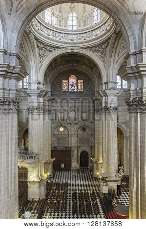 Jaen, Spain - may 2 2016: Vault center of the main nave that covers the choir in the Cathedral of Jaen, works of Andres de Vandelvira, influence that he exercised in many churches built in America in the second half of the XVI century, Spain