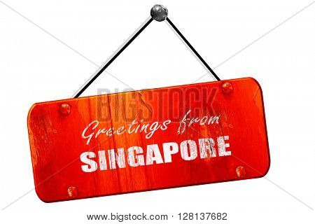 Greetings from singapore, 3D rendering, vintage old red sign
