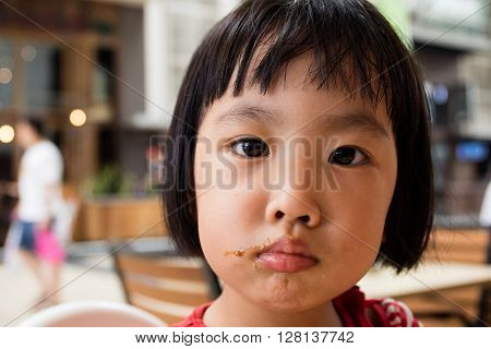 Asian Little Chinese Girl Making A Mess With Food