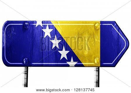 Bosnia and Herzegovina flag, 3D rendering, road sign on white ba