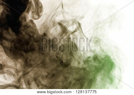 Abstract art. Hookah smoke on a white background. Inhalation. The steam generator. The concept of poison gas. Gaseous.
