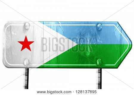 Djibouti flag, 3D rendering, road sign on white background