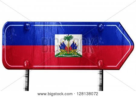 Haiti flag, 3D rendering, road sign on white background