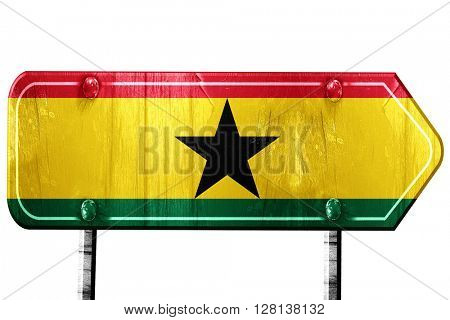 Ghana flag, 3D rendering, road sign on white background