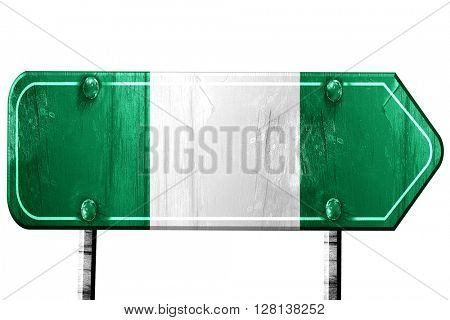 Nigeria flag, 3D rendering, road sign on white background