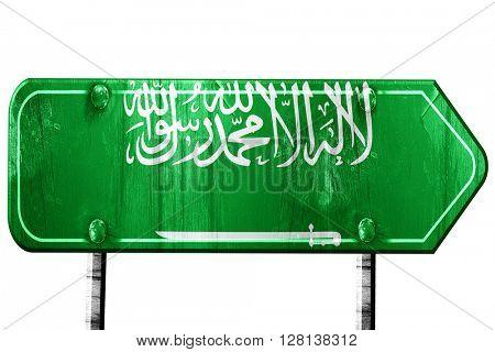 Saudi Arabia flag, 3D rendering, road sign on white background