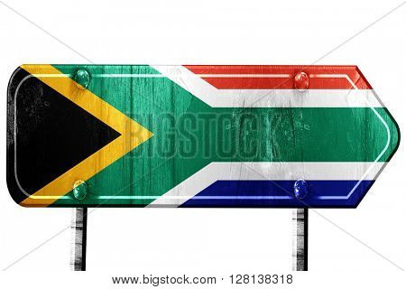 South africa flag, 3D rendering, road sign on white background