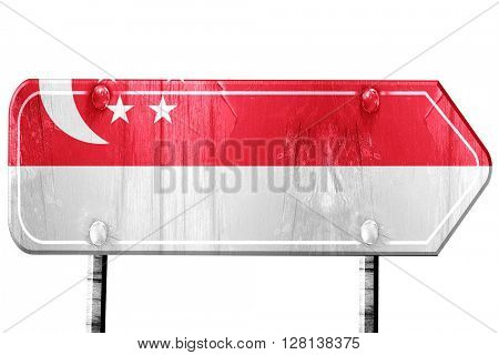 Singapore flag, 3D rendering, road sign on white background