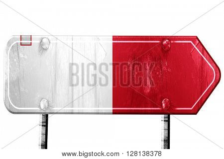 Malta flag, 3D rendering, road sign on white background