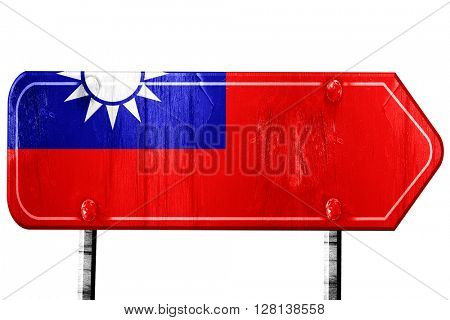 Republic of china flag, 3D rendering, road sign on white backgro