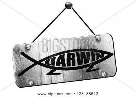 darwin fish symbol, 3D rendering, grunge hanging vintage sign