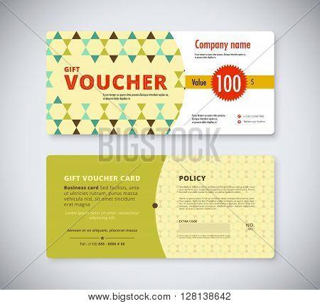 Abstract Gift Voucher Template Card. Business Voucher Card Template. Vector Stock.