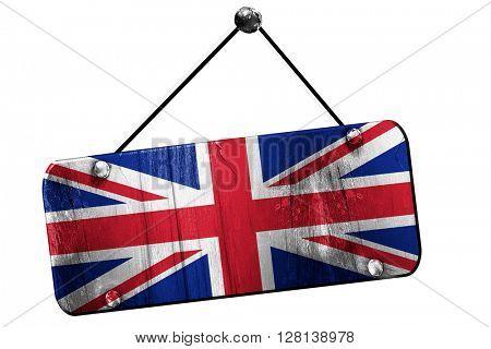 Great britain flag, 3D rendering, vintage grunge hanging sign