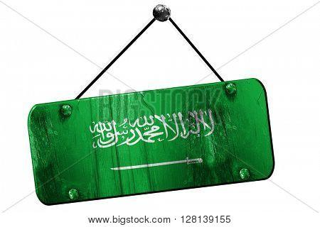 Saudi Arabia flag, 3D rendering, vintage grunge hanging sign