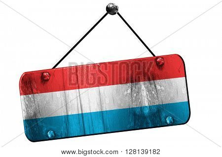 Luxembourg flag, 3D rendering, vintage grunge hanging sign