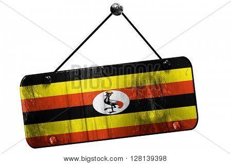 Uganda flag, 3D rendering, vintage grunge hanging sign