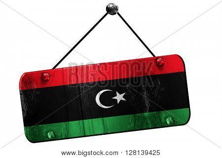 Libya flag, 3D rendering, vintage grunge hanging sign