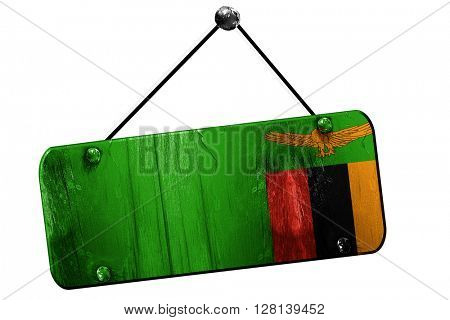 Zambia flag, 3D rendering, vintage grunge hanging sign