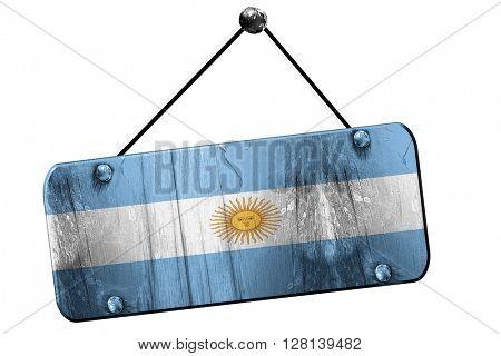 Argentina flag, 3D rendering, vintage grunge hanging sign