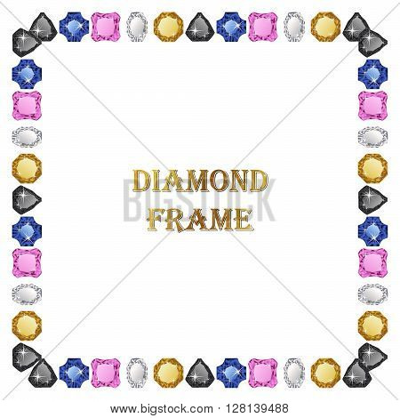 Diamonds square frame. Vector illustration jewerly. Abstract diamond vector. Diamond border