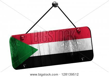 Sudan flag, 3D rendering, vintage grunge hanging sign