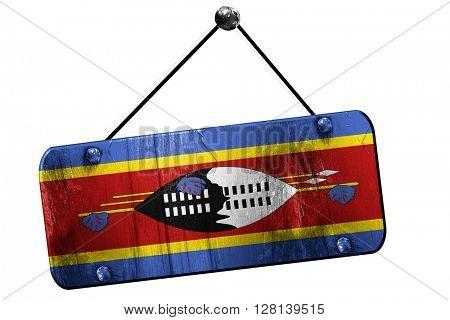 Swaziland flag, 3D rendering, vintage grunge hanging sign