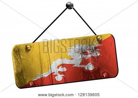 Bhutan flag, 3D rendering, vintage grunge hanging sign
